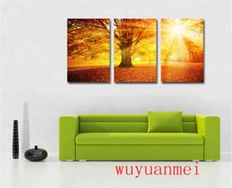 Foglie d'autunno, 3 pezzi Home Decor HD Stampato arte moderna pittura su tela (senza cornice / con cornice) supplier leaf framed art da foglia d'arte incorniciata fornitori