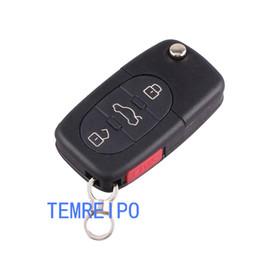 Wholesale Audi S6 Quattro - 3+1 Panic Remote Flip Folding Key Shell Case Keyless Fob For Audi A4 A6 A8 TT Quattro S4 S6 S8 CR1616  CR2032