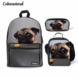 Mochilas de perro lindo online-Coloranimal 3Pcs Set Teenager Girl Boy School Bag Mochila para niños Cute Pug Dog Print Primary Student Large Capacity Back Pack