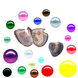 Wholesale Mystery Black - Free shipping 2018 round akoya oyster Jewelry 6-8 mm 25 color freshwater rice pearl oyster as mystery gift with Vacuum Package