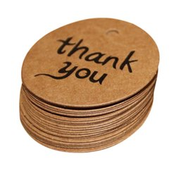Wholesale Wholesale Wedding Bonbonniere - Wholesale- 100 PCs Wedding Kraft Paper Tag thank you Bonbonniere Favor Gift Tags Happy Gifts High Quality Card Paper Oct 6