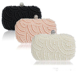 Wholesale Prom Clutch Bags - 2018 Sparkly Hot Cheap Crystal Pearls Fashion Bridal HandBags with Chain Women Wedding Evening Prom Party Clutches Bridesmaids Bags