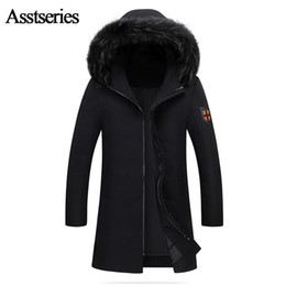 Wholesale 335 White - Winter Jacket Men Coats Thick Warm Casual Fur Collar Down Coat Winter Windproof Hooded Outwear Men White Duck Down Jacket 335