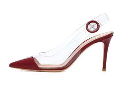 2018 Verano Sexy Nuevo super tacones mujeres PVC sandalias de punta de goma sandalias de cuero costura cena zapatos rojo y blanco desde fabricantes