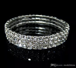 Wholesale white rhinestones - Rows 3 Tennis Bracelet Elegant Stretch Bridal Bangle Silver Rhinestones Cute Prom Homecoming Wedding Party Jewelry Bracelet Cheap In Stock