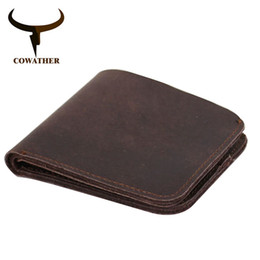 Wholesale Cow Crafts - COWATHER 2017 Vintage cross style cow genuine leather wallets for men top high quality new craft handmade popular original brand