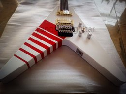 Wholesale Red Kill - Rare Jack Son Kill Switch Buckethead 24 Frets KFC Flying V Alpine White Solo Electric Guitar Red Neck Binding Floyd Rose Tremolo Tailpiece