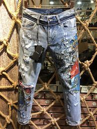 Jeanshose falten online-Mode Männer Blue Jeans Hosen Motorrad Biker Männer Waschen der alten Falten MaleTrousers Casual Runway Denim