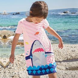 Wholesale Fishing Line Brands - Girls stripes dress chidren shark fish pattern casual dress child cotton short sleeve summer dresses designer kids cartoon clothing Y1089