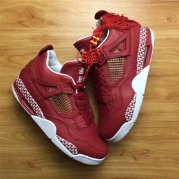 Wholesale Box Studios - 2018 400ML Studio x The Remade Air Retro 4 Basketball Shoes For Men Authentic Sneakers With Chinese Knot Original Box Best Quality 8-12