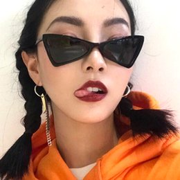 f4f98ef804 Small Cat Eye Sunglasses for Women Brand Design Vintage Triangle Butterfly  Shades Female Retro Black Red Eyewear Cheap Wholesale