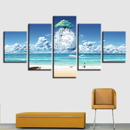 HD Printing Wall Pictures Decor Art 5 Piezas Blue Sky White Cloud Animales Perros Y Nave Playa Paisaje marino Lienzos Cuadros Modulares desde fabricantes