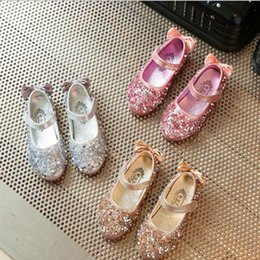 Wholesale Dancing Shoes For Children - Girls Children Shoes Sequin Bow Party Dance Princess Flat Kids Shoes For Girl Pu Leather Shoe sequin casual shoes KKA4141