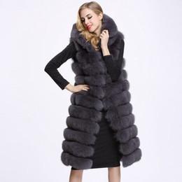 Maglia con cappuccio in pelliccia online-Inverno donna lunga pelliccia sintetica gilet di alta qualità 11 linee con cappuccio femminile pelliccia abbigliamento caldo outwear