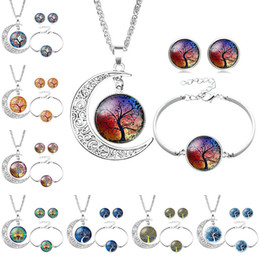 pink gemstones earrings Coupons - Tree of Life Glass Cabochon Necklace Bracelet Earrings Jewelry Sets Silver Moon Time Gemstone Cabochon Jewelry for Women Child Drop Shipping