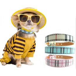 Wholesale Dog Collars Leashes Rhinestones - Classic Plaid PU Leather Dog Collar For Small Dogs Rhinestone Bones Dog Tag Accessories Leash Pet Supplies Cat Collar