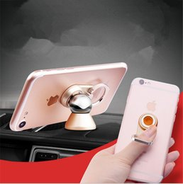 Wholesale Magnet Magnetic Ring - 2018 2 in 1 Metal Car Finger Ring Strong Magnetic Magnet 360 Rotating Universal Car Use Phone Holder GPS Mount Desk Stand