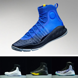 Wholesale Mvp Shoes - AAA+ Stephen Curry 4 Basketball casual Shoes steph Mens Curry 4 Gold Championship MVP Finals Sports training Sneakers Run Shoe Size 40-46