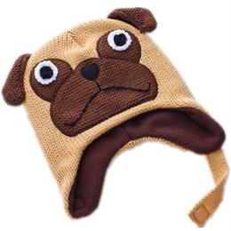2020 cappelli di lana di animali dei capretti Cartone animato cane Carlino Lana invernali maglia peluche caldo cappello bambino Baby Animals morbida Cosplay Cap Fleece Lining Berretti cappelli di lana di animali dei capretti economici