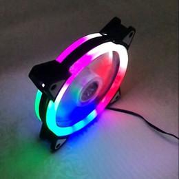 Ventilador ventilador rojo online-Ventilador de refrigeración del chasis de la PC Doble Aurora Halo Eclipse Ventilador de refrigeración LED Slient 12 cm Doble Aurora Azul / Rojo / Verde / Blanco / Colorido / Púrpura