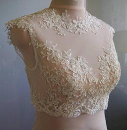 Canada Dentelle délicate vestes de mariée col bijou manches manches illusion appliques tulle blanc ivoire champagne haussières de mariée boléro wrap Offre