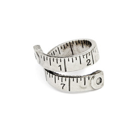Wholesale 18k Gold Alliance - Twisted Ruler Measure Ring Gold Silver Color Free size Adjustable ring Antique Alliance Homme Party Jewelry