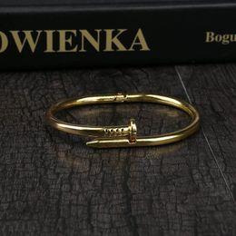 Wholesale nail chain jewelry - Women Screw Nail Cuff Bracelets &Bangles Female Titanium Stainless Steel Silver Color Black Love Bangle Bracelet Jewelry Pulseras