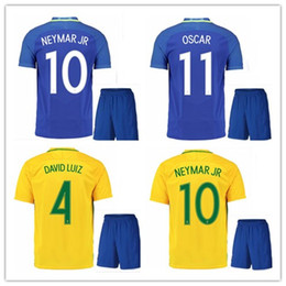 Wholesale Best David - best quality 2016 Brazil soccer jersey kits NEYMAR JR home away T.SILVA OSCAR D.COSTA DAVID LUIZ Brazil football shirt soccer kit jersey