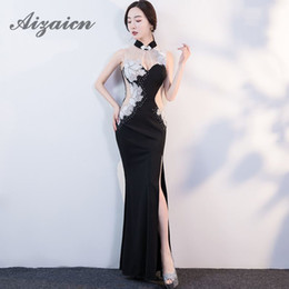 China de diamantes negros online-Sexy Diamond sirena vestidos de noche vestido de la manera china Cheongsam tallas grandes vestidos de boda oriental Qipao negro foto real