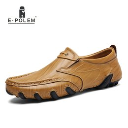 Wholesale Manual Sewing - 2017 Spring Autumn Casual Genuine Leather Breathable Men Shoes Han Style Tide Fashion Men Manual Waterproof Slip On Drive Shoes