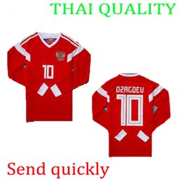 Wholesale Field Full - 2018 World Cup Russia football field ARSHAUIN 10 Home KOKORIN 9 red Long sleeves Jerseys 18 19 Away KERZHAKOU Thai quality Men's jersey