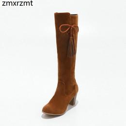 Canada 2019 femmes belle led du genou haute bottes femmes 7cm chaussures à talons hauts printemps automne fête chaussures grande taille 31-43 cheap led heels Offre