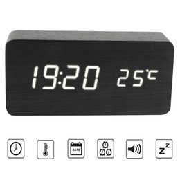 Wholesale wooden clock led - Wooden Digital Alarm Clock Voice Control LED Electronic Smart Alarm Clock Despertador With Time Temperature for Home Office
