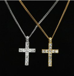 Wholesale religious free - 2018 Hip Hop Alloy Gold Color Cross Pendant Necklace Religious Iced Out Rhinestone Crucfix Necklace Jewely For Men Free Cuban Chain