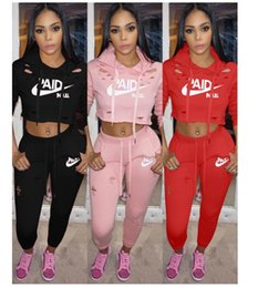 Wholesale Box Broken - Broken hole sportswear New Women active set tracksuits Hoodies Sweatshirt +Pant Running Sport Track suits 2 Pieces jogging sets