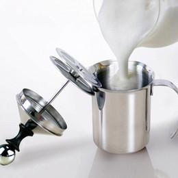 plastik-eierschneider Rabatt 800/400 ml Edelstahl Milchaufschäumer Pumpe Kaffeemischer Milchschäumer Cappuccino Latte Double Mesh Delicate Foam Für Kaffeewerkzeuge