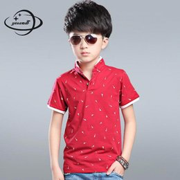 ba6fd35c5f6 Yauamdb Kids Polo Shirt 2017 Summer Autumn 6 -16y Cotton Boys Short Sleeve  Tee Children Stand Collar Pullovers Print Clothing Y20