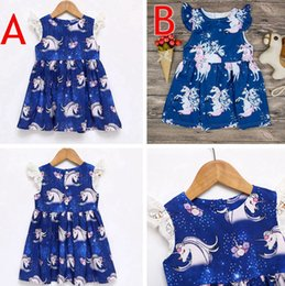 Wholesale 2t Girl Halloween Costume - Baby Girls Summer Blue Unicorn Lace Dress Baby Girls Unicorn Party Wedding Dress Animal Pattern Costume For Kids Dress 2colors for 1-6years