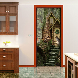Wholesale 3d fairy stickers - 3D Vivid Squirrel Decorative Pattern Door Sticker Fairy Tale World Wall Decals Latest Forest Mural Waterproof Bedroom Home Decor Poster