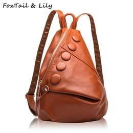 Wholesale Leather Fashionable Backpacks - FoxTail & Lily Luxury Brand Real Genuine Leather Backpack Women Fashionable School Bags for Teenage Girls Double Shoulder Bags