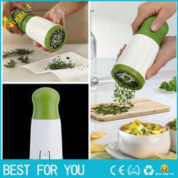 Wholesale Herb Chopper - New hot Herb Parsley Micro-plane Mill Chopper Cutter Mince Stainless Steel Blades Plastic Body Safely