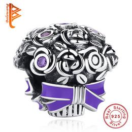 Argentina BELAWANG encanto de la flor de plata de ley 925 cuentas de los granos del encanto con púrpura esmalte púrpura CZ encanto Fit Pandora pulsera de la joyería DIY para las mujeres cheap diy bead bouquet Suministro
