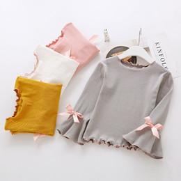 Wholesale Korean Style Shirt New Kids - New Spring Girls Princess T-shirt Sweet Ruffle Bow Kids Tops Autumn Flare Sleeve Bows Korean Children Tee Shirt white Pink yellow gray C2768