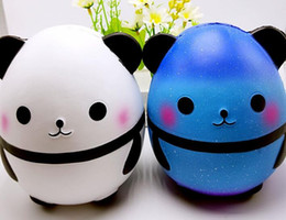 Wholesale panda bears toys - 2018 Jumbo Squishy Kawaii Panda Bear Egg Candy Soft Slow Rising Stretchy Squeeze Kid Toys Relieve Stress Bauble 14*13*12cm