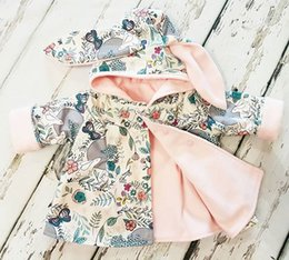Wholesale Fall Baby - Everweekend Girls Cartoon Floral Print Bunny Ears Jackets Sweet Toddler Baby Cute Fashion Spring Fall Winter Outwears
