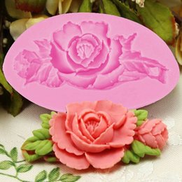 Wholesale Silicone Soap Molds Rose - 3D Rose Flower Cake Silicone Mold Fondant Cake Decorating Chocolate Candy Molds Resin Clay Soap Mould Kitchen Bakeware YB200129