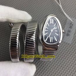 Marcas de relojes de señoras baratas online-Nuevo Serpenti Tubogas Negro Blanco Dial Cuarzo Reloj Mujer Pulsera de Acero Plata Señora Relojes Marca de Moda Barato Nueva Novia Regalo