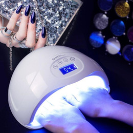 Wholesale led lamp gel - 48W Nail Dryer Dual UV LED Nail Lamp Gel Polish Curing Light with Bottom 30s 60s Timer LCD display lamp for nails nail dryer