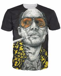 Мужские татуировки футболки онлайн-Татуированные страх и ненависть футболку татуировку Джонни Депп Рауль герцог страх и ненависть 3d печатных футболка женщины мужчины топ тройники наряды