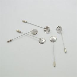 Brosche online-50 stücke 70 * 16mm Kupfer Metall Silber Farbe Brosche Basis Blank Tray Brosche Basis Revers Pin DIY Schmucksachen